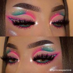 Dope Makeup, Baddie Makeup, Eye Makeup Art, Crazy Makeup, Eyeshadow Makeup, Crazy Eyeshadow, Cute Eye Makeup, Beautiful Eye Makeup, Glitter Makeup Looks