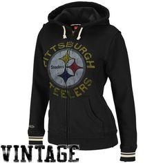 3adcbc0da Amazon.com  NFL Mitchell   Ness Pittsburgh Steelers Ladies Black Vintage  Full Zip Fleece Hoodie Sweatshirt (X-Large)  Clothing