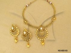NS-800-93 || Golden Chand Bali Plated ManekRatna Antique Necklaces