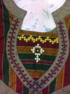 A simple Kutch work around the neck for a salwar kamiz Few neck designs which i have worked on my salwar … Embroidery Online, Hand Embroidery Dress, Embroidery Works, Types Of Embroidery, Indian Embroidery, Folk Embroidery, Modern Embroidery, Hand Embroidery Patterns, Embroidery Stitches