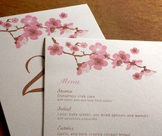 Delicate floral spring cherry blossom wedding reception menu and table number set for a garden wedding.  | Invitations by Ajalon | invitationsbyajalon.com