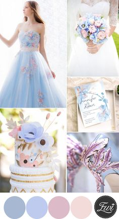 gorgeous light blue and blush pink fairy tale wedding color ideas