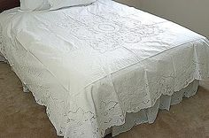 "Stunning Vintage Extra Fancy Hand Embroidery Bed Coverlet and Dust Ruffles. ""Princess Grace"" Embroidery."