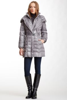 Hooded Knit Neck Belted Down Puffer Jacket