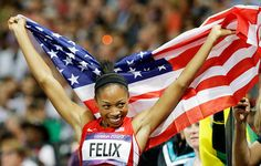United States' Allyson Felix celebrates her win in the women's 200-meter final in the Olympic Stadium on Wednesday.