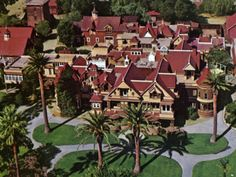 A postcard image of the Winchester Mystery House One of the