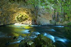 The water under the great natural bridge in Rakov Škocjan.