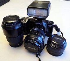 Vintage Minolta Dynax Maxxum 7000i Auto Focus 35mm SLR Camera, Introduced in 1988, With AF 28-85, AF 50 and AF 100-300 Lenses, Made in Japan.