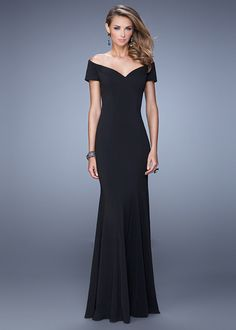 Black Sleeved Off The Shoulder Long Flared Jersey Evening Gown