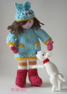 Bunnie & Wilf Knitting PatternThis is a pattern to knit Bunnie & her little dog Wilf. It includes instructions to knit the doll, dog, dress, hat & boots.Measurements Bunnie Approximately 26cm high Wilf Approximately 8cm highMaterials 25g of King Cole Cottonsoft DK in Mint 25g of Stylecraft Special DK in Soft Peach Small amounts in each of Yellow, Red, White, Mustard, Pink, Brown, Cream.