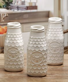 Look at this 10-oz. Embossed Honey Bee Milk Bottles - Set of Six on #zulily today!