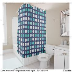 Cute Blue Teal Turquoise Round Square Pattern Shower Curtain. Ornate, elegant and funky hipster motif for the artistic interior designer, the artsy popular hip trendsetter, vintage mod retro, nouveau deco art style or abstract graphic digital geometric motif lover. Original, modern and whimsical bathroom decor accent.