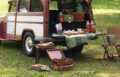 Vintage camping theme.