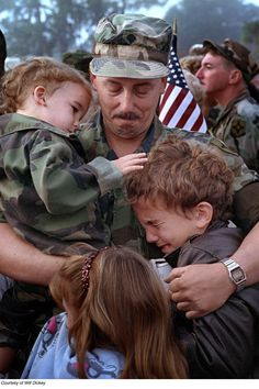 A Florida reserve soldier says an emotional goodbye to his children before leaving for the Gulf War.