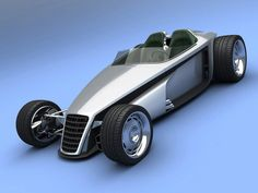 VizualTech's Bo Zolland has created a rendering of his proposed Delithium Concept which hints at what a future green hot rod could look like. Fancy Cars, Cool Cars, Classic Hot Rod, Classic Cars, Reverse Trike, T Bucket, Pedal Cars, Us Cars, Automotive Design