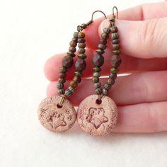 Boucles d'Oreilles Bohèmes Rustiques, Boucles d'Oreilles Perles, Boucles d'Oreilles Pendentif Fleur Céramique