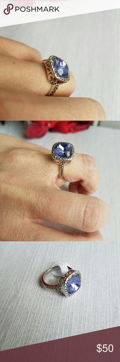 🆕 4 CT CRYSTAL TANZANITE AND MARCASITE RING This stunning ring features one 11mm crystal Tanzanite gemstone surrounded by a halo of Marcasite stones. Crafted in platinum plated brass.  - Ring top measures 12mm - 25 total stones Jewelry Rings