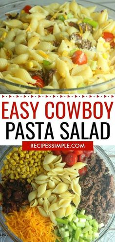 Cowboy Pasta Salad Recipe is perfect for those busy nights when you need a quick easy dinner. #pastasalad #pastarecipes #cowboypastasalad #easydinnerrecipes