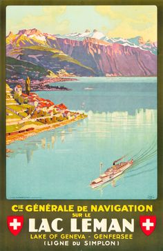 Lake Geneva, Switzerland Travel Poster (C.G.N.,1927)