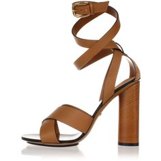Gucci Leather Sandal Heel 11.5 cm (€356) ❤ liked on Polyvore featuring shoes, sandals, brown, gucci, wooden high heel sandals, high heel shoes, brown high heel shoes and leather sole sandals