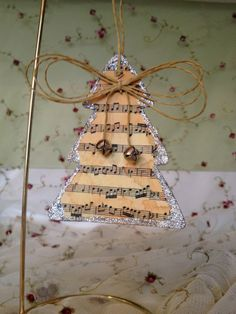 images of vintage christmas sheet music | Vintage style music sheet Christmas ornament ... | Sheet Music Crafts