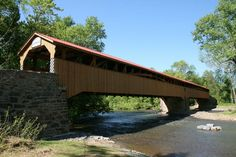 longest covered bridge in PA - Academia, PA, plus Tuscarora Academy Museum