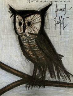 Bernard BUFFET : Original Lithograph : Little owl, 1967
