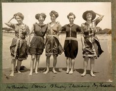 Women's swimwear in the 1910's became less conservative compared to earlier decades. The legs were now able to be shown. Although, some women still wore leggings with their swimsuits in order to be more conservative.