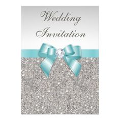 Custom Printed Silver Sequins Diamonds Teal Bow Wedding Personalized Announcements created by GroovyGraphics. This invitation design is available on many paper types and is completely custom printed. Teal Wedding Invitations, Elegant Invitations, Wedding Invitation Design, Bridal Shower Invitations, Custom Invitations, Party Invitations, Quinceanera Invitations, Glitter Invitations, Senior Invitations