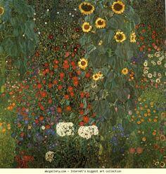 Gustav Klimt Farm Garden with Sunflowers art painting for sale; Shop your favorite Gustav Klimt Farm Garden with Sunflowers painting on canvas or frame at discount price. Art Klimt, Baumgarten, Farm Gardens, Photo Wallpaper, Framed Art Prints, Framed Wall, Wall Décor, Framed Canvas, Wall Murals