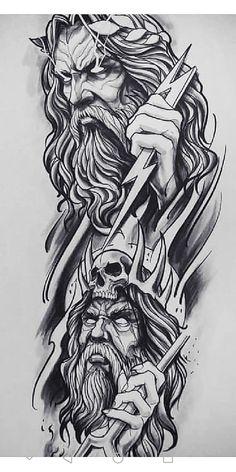 Zeus Tattoo, Hades Tattoo, Poseidon Tattoo, Tattoo Design Drawings, Tattoo Sleeve Designs, Tattoo Sketches, Tattoo Designs Men, Viking Tattoo Sleeve, Leg Tattoo Men
