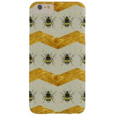 This beautiful iPhone 6 Plus Case features a pattern of vintage style bumblebee illustrations and metallic gold chevrons on a gold and grey speckled background. Artwork made by Natasha Hutton Illustration. Matching products available in my Zazzle Store. #bumblebee #, #bee #, #bees #, #gold #, #chevron #, #metallic #, #grey #, #insect #, #phone #case #, #vintage
