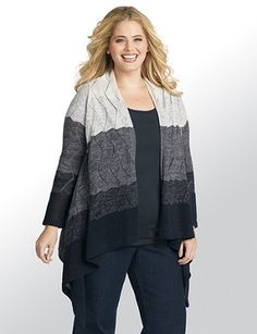 Fall in love with this draping, three-quarter-sleeve cardigan in a cozy, knit fabric with a pointelle design. The colorblock shades are a unique touch, while the asymmetrical hem falls longer on each side to add length to your shape. Catherines tops are designed for the plus size woman to guarantee a flattering fit. outlet.com