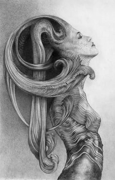 Allen Williams Art dessin au graphite de fées et les chiffres et les bêtes et les créatures et les anges.