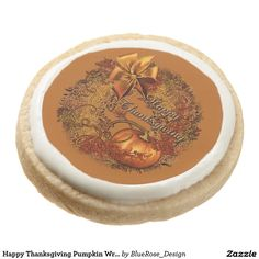 Shop Happy Thanksgiving Pumpkin Wreath Cookies created by BlueRose_Design. Shortbread Cookies, Oreo Cookies, Sugar Cookies, Thanksgiving Treats, Pumpkin Wreath, Cookie Gifts, Chocolate Covered Oreos, Cake Pops, Colorful Backgrounds