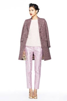 J. Crew Fall 2013 collection look book. This is a non-boring yet not too chaotic monochrome look that works, due to the mix of textures and simple cuts.