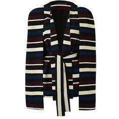Lavish Alice Stripe Cape Blazer ($95) ❤ liked on Polyvore featuring outerwear, jackets, blazers, striped blazer, cape jackets, lavish alice, stripe jacket and stripe blazer