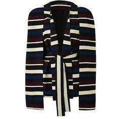 Lavish Alice Stripe Cape Blazer (5.980 RUB) ❤ liked on Polyvore featuring outerwear, jackets, blazers, lavish alice cape, stripe blazer, blazer jacket, blazer cape and cape coat