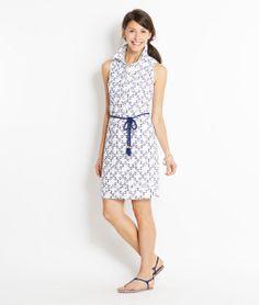 Anchor Print Eyelet Dress