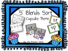 Thank you for your interest in my product!This is an 'S' Blend Pack which includes the blends sl, ,sw, sp, st, sc, , sk, sm, sn.There is a preview available to show the page listed below.Eight Cupcake header cards (one for each blend)Five picture card for each blendFive word card for each blendsTwo cut and paste ( four blends on a page)Two word sort printable ( four blends on a page)Two Color by the blend printable  (four blends on a page)Eight blend posters (one for each blend)Direction…