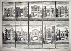 Gates of London. Sutton Nicholls (active early 18th century), Gates of London, 1731 Engraving. This eighteenth-century print describes the ten London gates, each within a black border with a compass and description beneath. They are Ald-Gate, Bishops-Gate, Moore-Gate, Cripple-Gate, Alders-Gate, New-Gate, Lud-Gate, Temple Bar, Kings-Gate, the King Street gate at Westminster.
