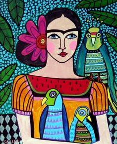 mexican folk art woman with birds | Mexican Folk Art Parrots Bird Print Poster Painting Parrot Colorful ...