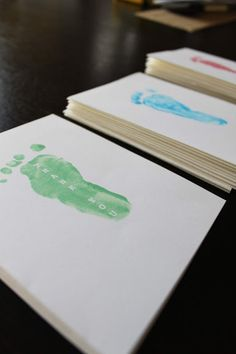 DIY baby footprint thank-yous