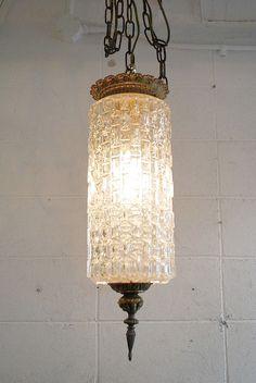 60's クリアガラスシェード吊り下げランプ [apl2-127]  販売価格: 21,000円