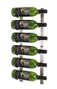 Wall Mounted Nickel Wine Rack   VintageView WS21 2-Foot 6 Bottle Wall Mounted Wine Rack in Brushed Nickel (1 Row Deep)