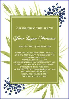 39 Best Funeral Reception Invitations Reception invitations