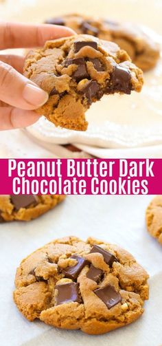 Peanut Butter Dark Chocolate Cookies - buttery cookies loaded with chocolate and. - stuff I want to make - cookies and bars - Peanut Butter Triple Chocolate Chip Cookies, Healthy Dark Chocolate, Chocolate Peanut Butter, Healthy Peanut Butter, Peanut Butter Recipes, Köstliche Desserts, Chocolate Desserts, Chocolate Chocolate, Dark Chocolate Chips