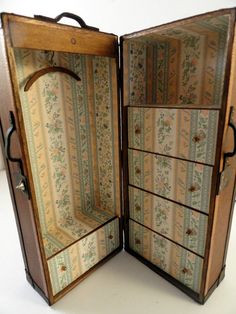 SIGNED LAURA BLOCK~ LEATHER WARDROBE TRUNK WITH DRAWERS 1:12 SCALE