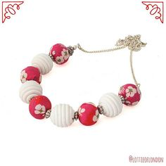 SOLD Red and white fabric bead necklace handmade with Liberty of London ribbon now available at Lottie Of London Jewellery