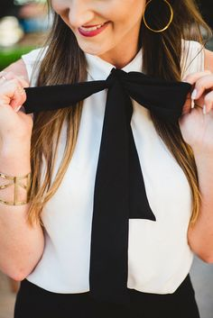 Really cute bow front top for Fall